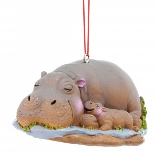 Hippo Christmas Ornament.Hippo With Baby Ornament