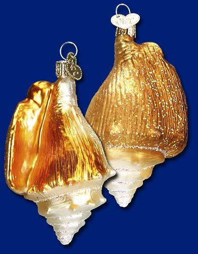 Golden Seashell Old World Glass Ornament