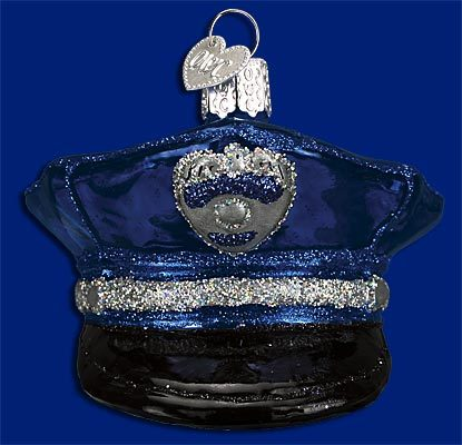 Police Officer's Cap Old World Glass Ornament