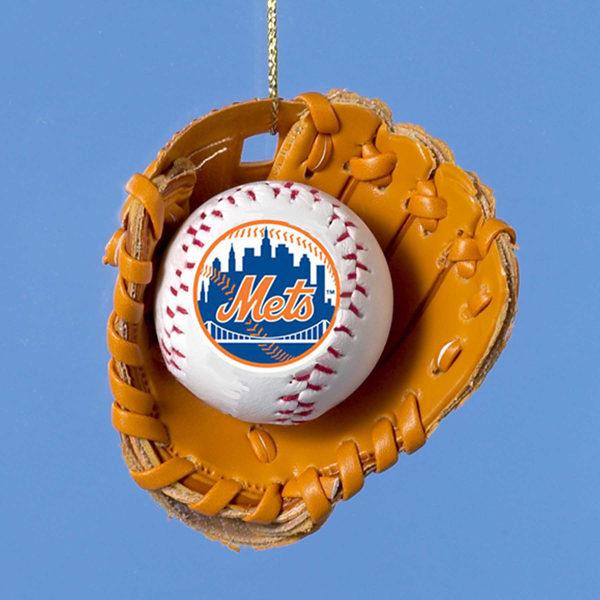 New York Mets Baseball in Glove Ornament