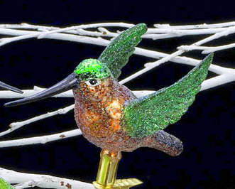 Hummingbird Clip-On Old World Glass Ornament