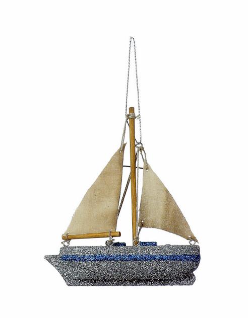 Wood Glitter Sailboat Ornament