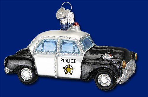 Police Car Old World Glass Ornament