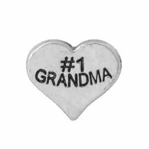 #1 Grandma Silver Heart Floating Charm for Forever in My Heart Locket Jewelry