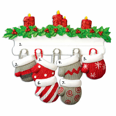 Mittens on Mantle Personalized Ornament-6