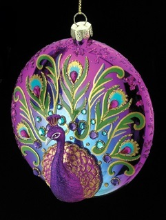 Peacock Glass Disc Ornament