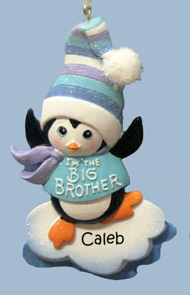 Big Brother Penguin Boy Personalized Ornament