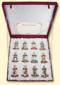Twelve Days of Christmas Bells Old world Glass Ornament Set