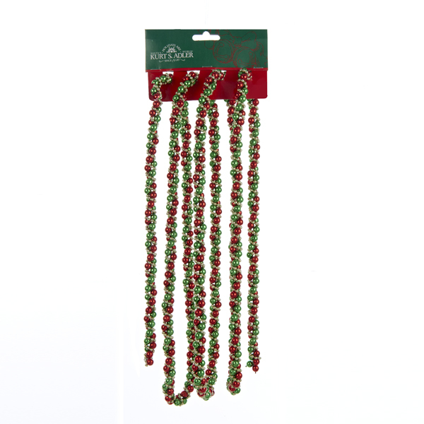 Red, Green & Gold Twisted Bead Garland