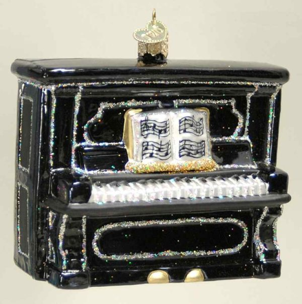Upright Piano Old World Glass Ornament-Black