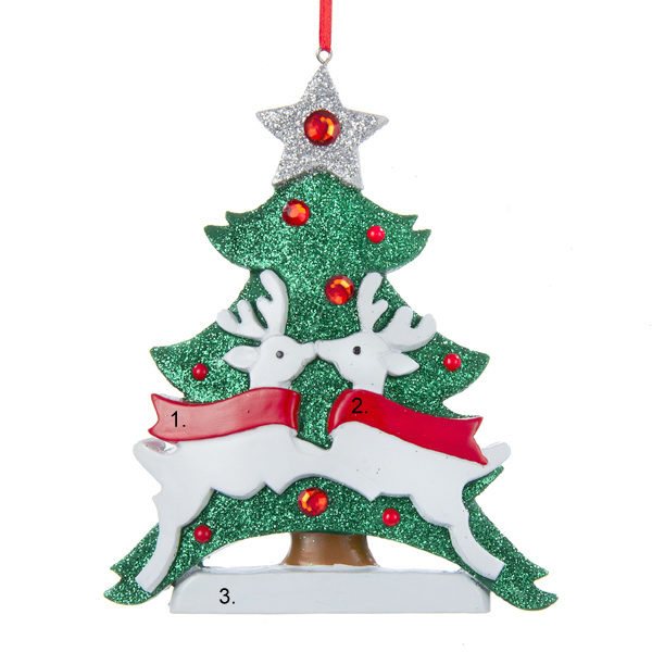 Christmas Tree with Deer Personalized Ornament