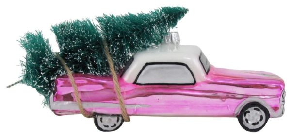 Pink Vintage Car with Tree Christmas Holiday Glass Ornament