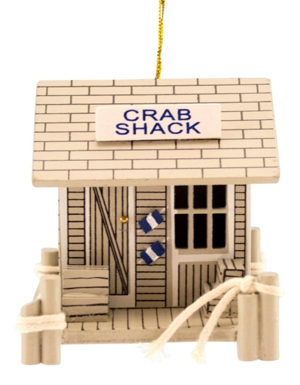 Wood Crab Shack Coastal Christmas Holiday Ornament
