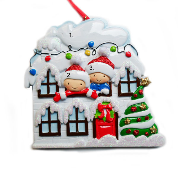 House with 2 people Personalied Ornament