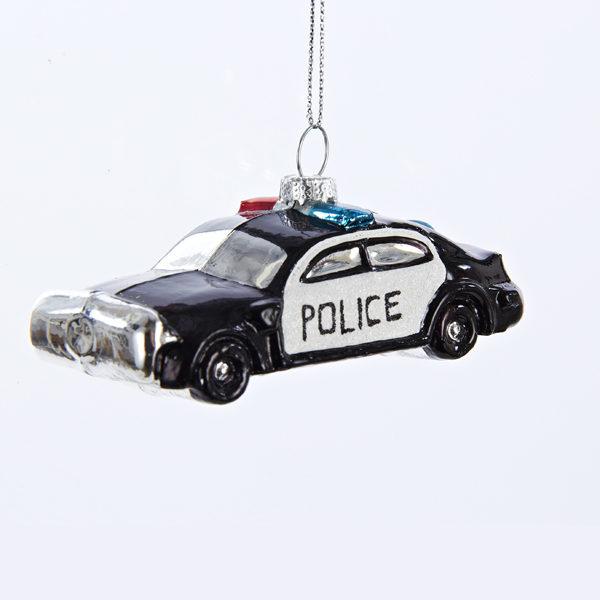 Police Car Glass Ornament
