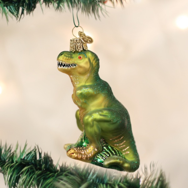 T-Rex Old World Glass Ornament