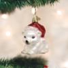 Christmas Polar Bear Old World Glass Ornament
