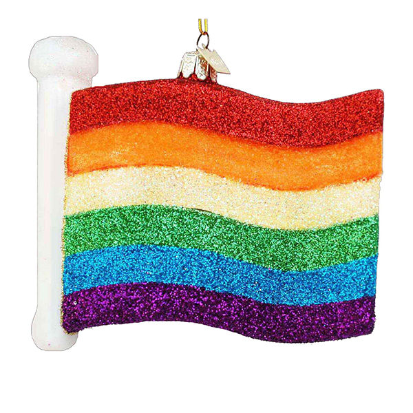 Rainbow Gay Pride Flag Glass Ornament