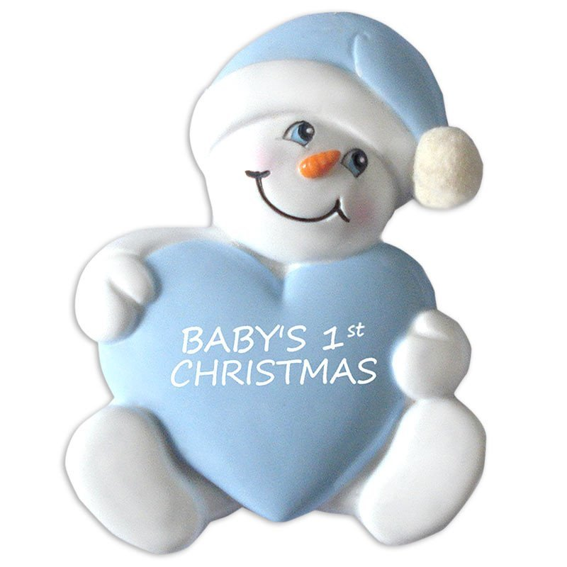 Baby's 1st Christmas Ornament Snowbaby with Heart-Boy