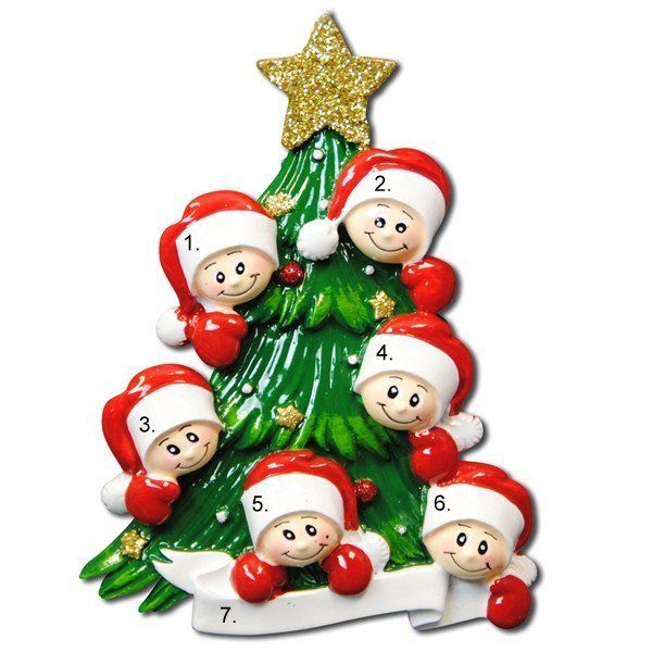 Christmas Tree Family of 6 Personalized Ornament