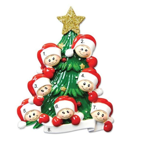 Christmas Tree Family of 7 Personalized Ornament