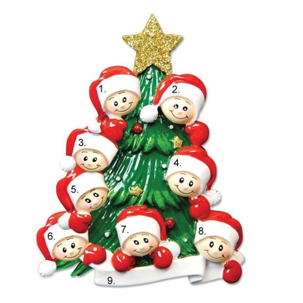 Christmas Tree Family of 8 Personalized Ornament