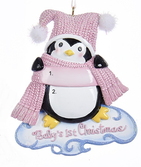 Baby's First Chirstmas Penguin Ornament- Girl