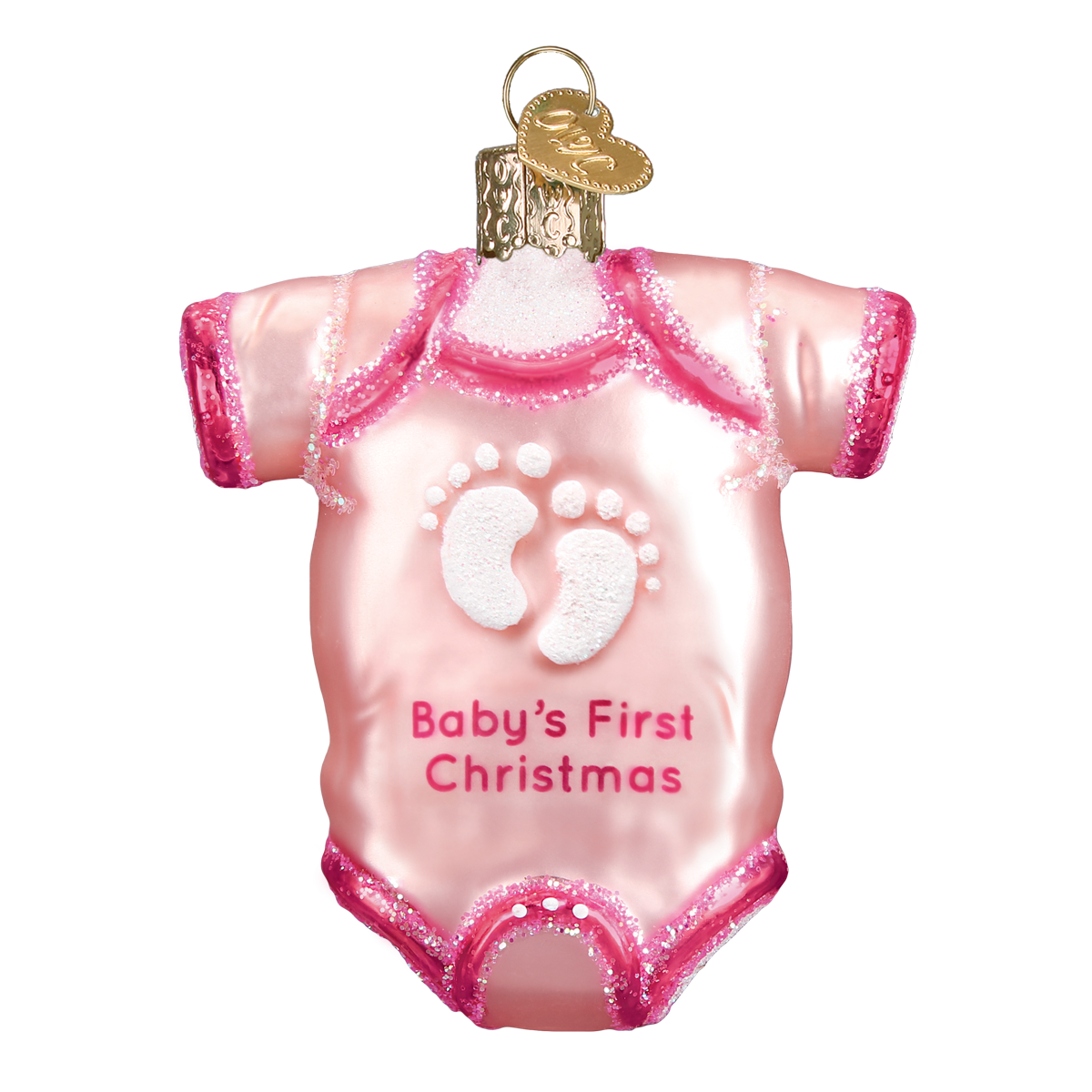 babys first christmas onesie glass ornament pink