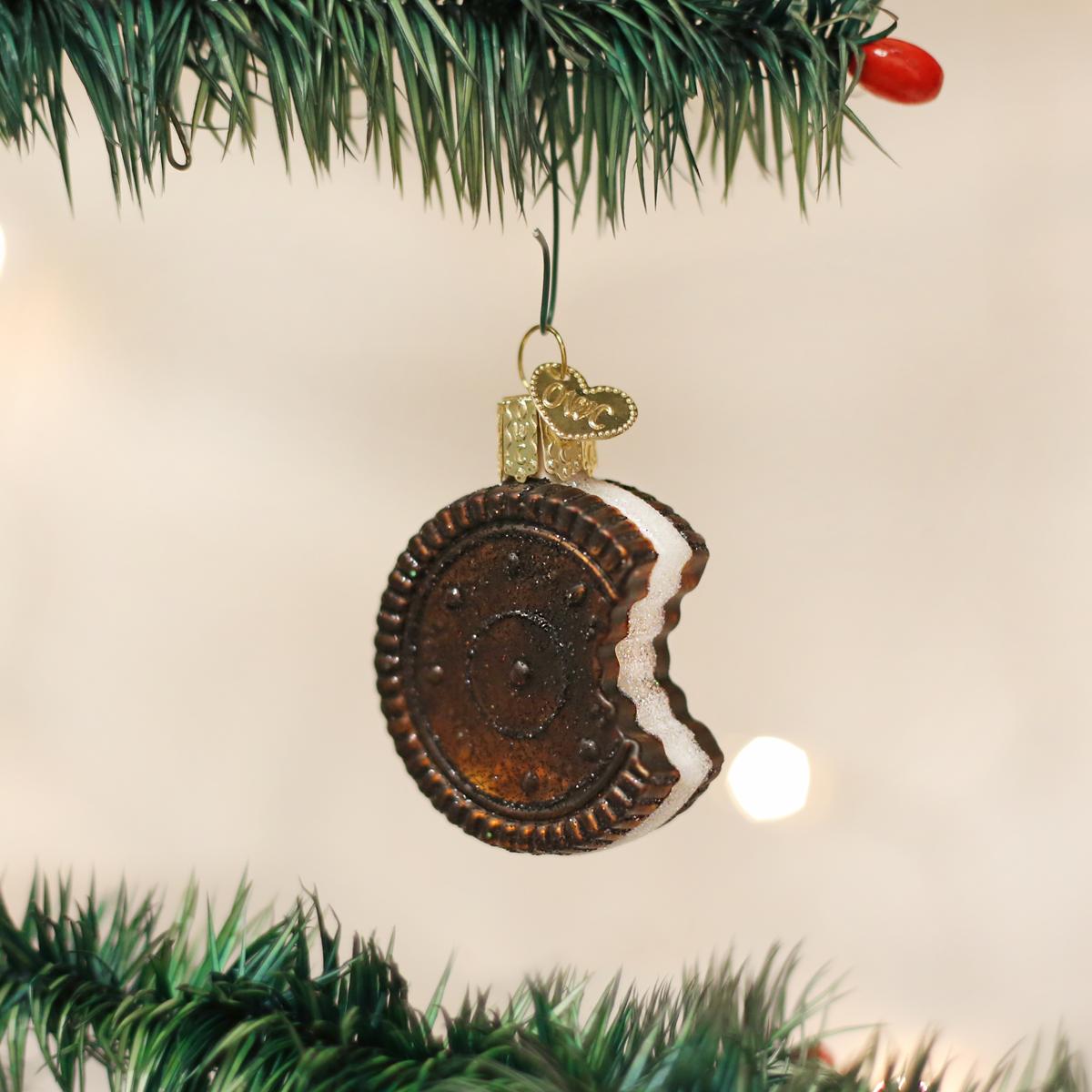 Chocolate Oreo Cookie Glass Ornament