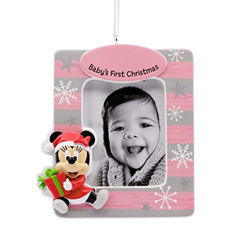 Disney Minnie Mouse Girl Babys 1st Christmas Photo Frame Ornament